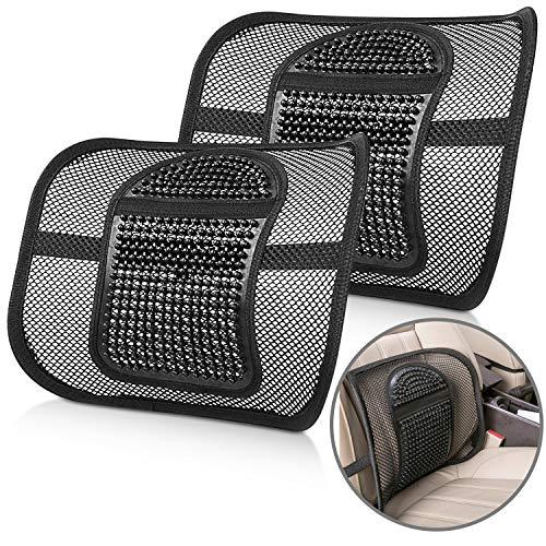 Renfox Lordosenstütze Mesh, Massage Lordosenstütze Rückenstütze Rückenkissen für Autositz oder Bürostuhl, Haltungskorrektur der Lendenwirbelsäule (2-teiliges Set)