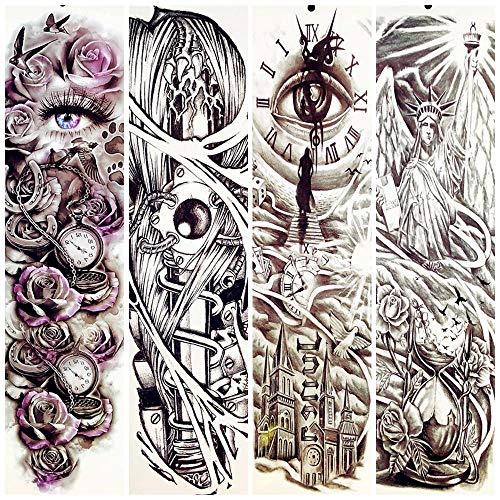 Muster Ganzkörper Kostüm - Tattoo Männer 23 Muster Ganzkörper Kunst Arm Tätowierung Aufkleber Frauen Männer Strand Wasserdicht Gefälschte Schwarze Tätowierung Auge Old School Totem Tattoos
