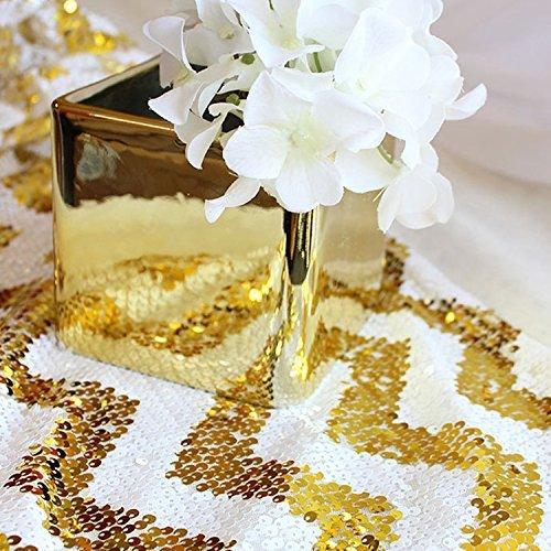 shinybeauty 33cm, 274,3cm Gold Chevron Pailletten Tischläufer