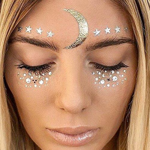 o Sticker Metallic Shiny für Glitzer Effekt, Parties, Shows und Make-up (F23) (Halloween Augen Kontakte)