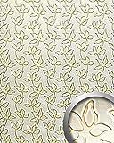 Wandpaneel Leder Blumen Dekor WallFace 14790 FLORAL ALISE Design Paneel selbstklebend gold weiß   2,60 qm