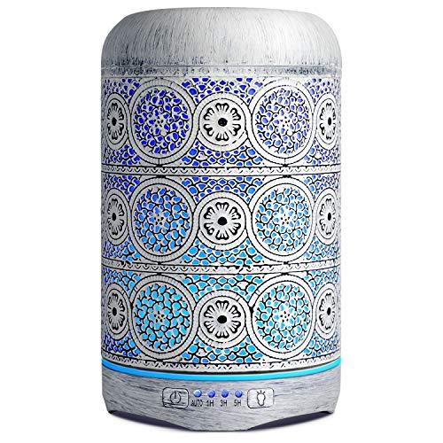 Salking Diffusore di aromi da 260 ml, in metallo, per aromaterapia, per oli essenziali, umidificatore elettrico, 7 colori, diffusore vintage, umidificatore per bambini, casa, ufficio o yoga