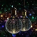 2 x XQ-lite LED-lampen Globe G125 3,5 W E27 3D vuurwerk effect decoratie