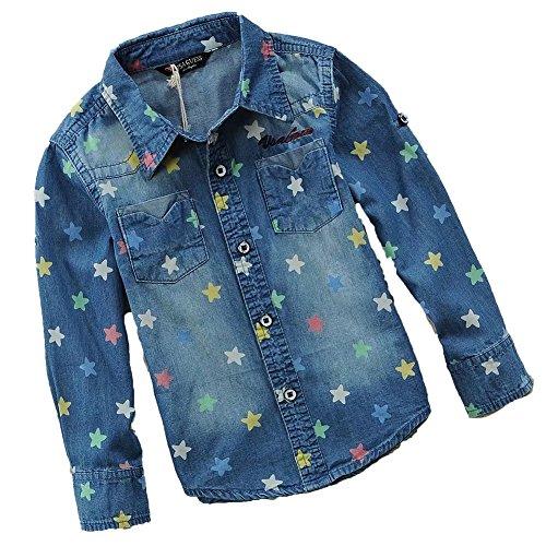 BiSHE Baby Jungen/Mädchen Langarm Denim Shirt Vintage Washed Bluse mit Stern für Frühling 3-12 Jahre