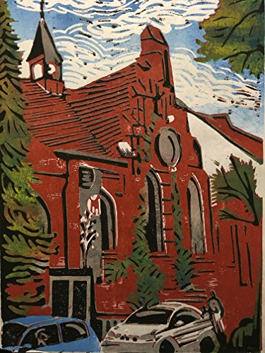 Immanuel Kapelle Bremen Walle - Linolschnitt, von Hand einzeln gedruckt, etwa 20x30cm, Limitiert auf...