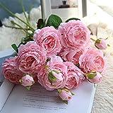 DAY.LIN Pivoine Fleurs Artificielles Western Rose Plantes De Mariée Bouquet Fête De Mariage Accueil Faux Floral Artisanat Décoration de la Maison Artificielle Fleur