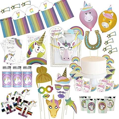Musykrafties Rainbow Unicorn Party Decoration Birthday Activity Supply and Cupcake Kit