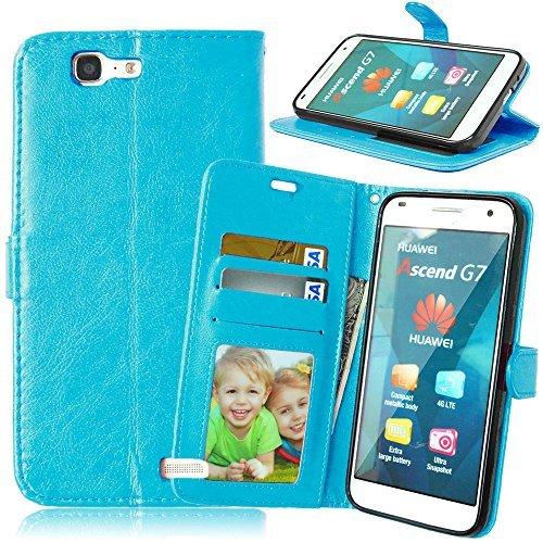 Huawei Ascend G7 Hülle,Ascend G7 Case,Cozy hut Lederhülle Tasche Handyhülle mit Standfunktion Mappen drei Karten Slot Kunstleder Magnetverschluss für Huawei Ascend G7 (5.5 Zoll) blau