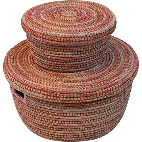 EA Déco Naturel & Design PLS2TFUS Ndeute Mm+PM Panier Plastique/Paille Tricolore Fushia 35 x 27 x 28 cm