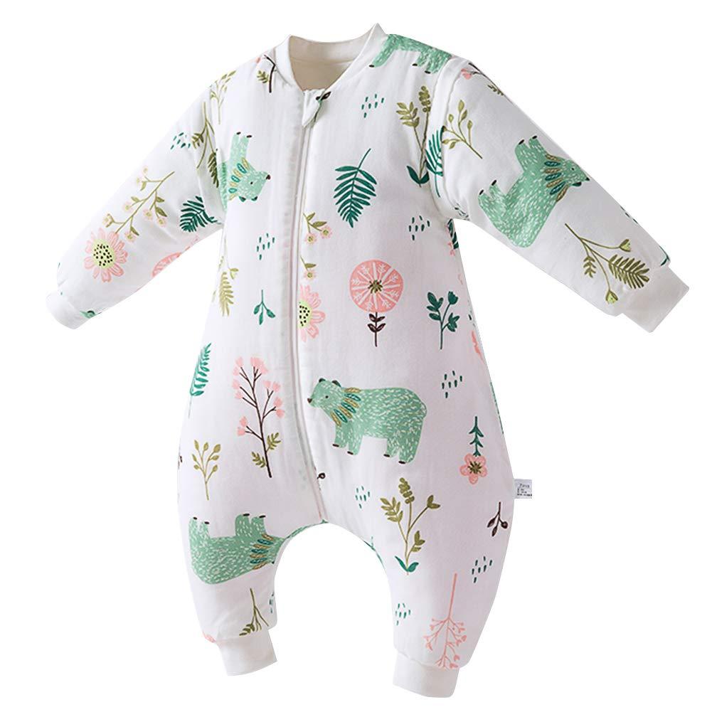 Saco de Dormir Acolchado de Algodón para Bebé para Invierno Bolsa Dormida con Mangas Largas Verano Primavera Otoño Desmontable para Niños 1 año – 3 años