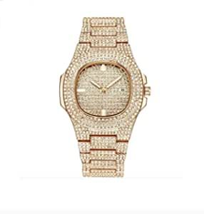Jewelry Bust Down AP Watch Supreme Collana Rapper Bling Rollex Skelton Iced Out Hip Hop Watch Cubic Zirconia Diamonds Colore Oro Argento