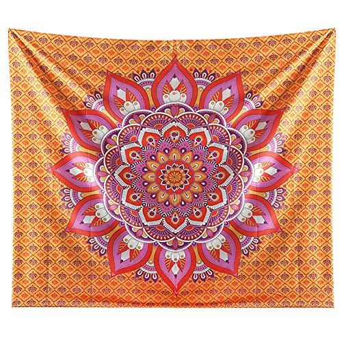 Jotom tappezzeria da muro arazzo beach india mandala arazzi hippie arte bohemian coperta decorazione dormitorio yoga meditazione asciugamano da spiaggia(150 x 200 cm, mandala arancio)