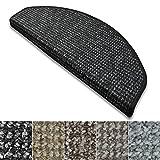 Stufenmatten Carlton | Flachgewebe dezent gemustert | Treppenteppich in zwei Formen | mit Teppich Läufer kombinierbar (Anthrazit - halbrund - 1 Stück)