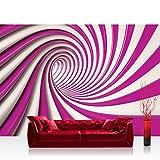 Fototapete 254x184 cm PREMIUM Wand Foto Tapete Wand Bild Papiertapete - Kunst Tapete Abstrakt Tunnel Streifen Illusionen pink - no. 593