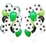 Baipin Globos de Fiesta de fútbol, 12 Pulgadas Globos De Látex Verde Blanco para Decoraciones de Fiesta de cumpleaños Niños,