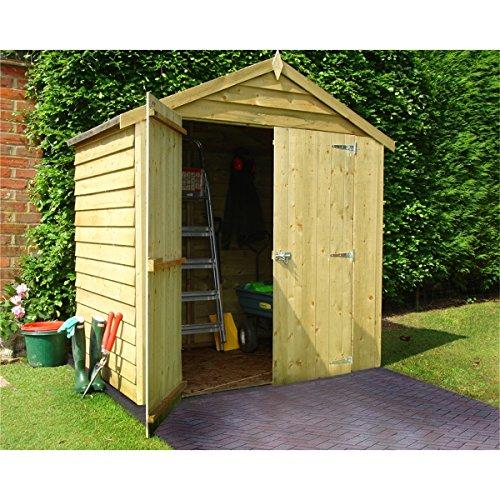 1,2x 1,8m Overlap Apex Garden, senza finestra, tetto legno trattato a pressione (10mm Solid OSB
