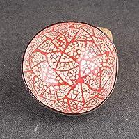 Cuenco de coco lacado con mosaico natural hecho a mano, colorido, para decoración del hogar, rosso, round patch