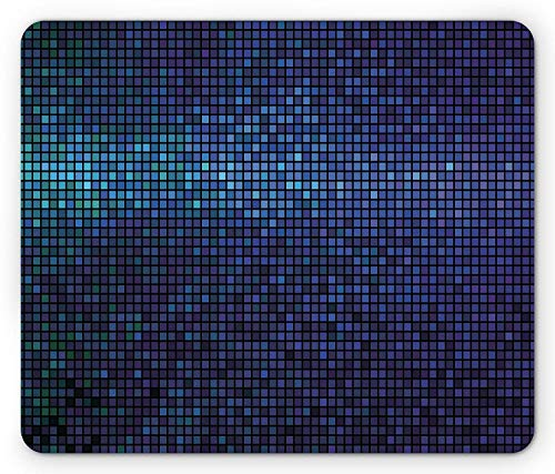 ASKSSD Abstract Mouse Pad, Disco Backdrop with Gradient Fractal Mosaic Little Squares Print, Standard Size Rectangle Non-Slip Rubber Mousepad, Indigo Navy Blue Teal Purple (Teal Party Und Purple)
