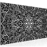 Bilder Mandala Abstrakt Wandbild 200 x 80 cm Vlies - Leinwand Bild XXL Format Wandbilder Wohnzimmer Wohnung Deko Kunstdrucke Schwarz Weiß 5 Teilig - MADE IN GERMANY - Fertig zum Aufhängen 107455c