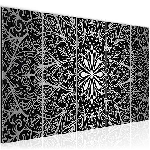Photo Mandala Résumé Décoration Murale 200 x 80 cm Toison - Toile Taille XXL Salon Appartement Décoration Photos d'art Gris 5 Parties - 100% MADE IN GERMANY - prêt à accrocher 107455c