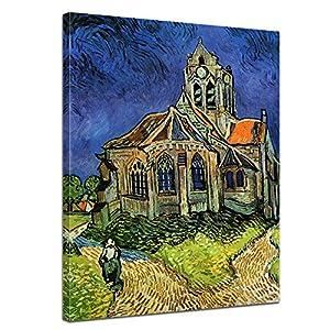 SENSATIONSPREIS Bilderdepot24 Leinwandbild mit SOMMER RABATT - Vincent van Gogh - Alte Meister - Die Kirche von Auvers - 50x70cm - eigene Herstellung, faire Produktion in Deutschland