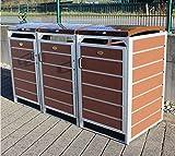 Prewood WPC Mülltonnenbox, Mülltonnenverkleidung für 3x 240l Mülltonne braun // 86x204x127 cm (LxBxH) // Gerätebox, Gartenbox & Mülltonneneinhausung
