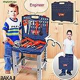 BAKAJI Banco da Lavoro per Bambini 69 Pezzi Portatile da Viaggio con Attrezzi e Accessori 40 x 35 x 72 cm Trapano Giocattolo Realistico Tool Set