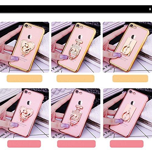 Etsue Glitzer Ring Schutzhülle für iPhone 5S/iPhone SE Liebe Herz Metall Finger Grip Ständer Halterung Überzug Plating Rahmen Durchsichtig Glitzer Hülle, iPhone 5S/iPhone SE Luxus Bling Glänzend Diama Parfüm Flasche Ring Gold
