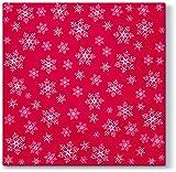 20 Servietten Überall Schneeflocken und Sterne rot/Schneekristalle / Winter/Weihnachten 33x33cm