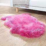 Paco Home Australisches Lammfell Naturfell Bettvorleger Echtes Schaffell In Pink, Grösse:100x68 cm