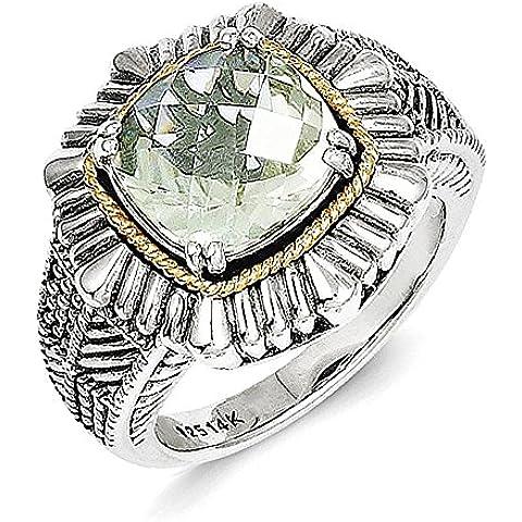 Sterling Silver w / 14k verde Quarzo Anello