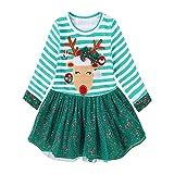 Weihnachten Baby Mädchen Kleidung,Covermason Kleinkind Kinde Baby Mädchen Rotwild Gestreift Prinzessinenkleid Weihnachts-Outfits Kleider