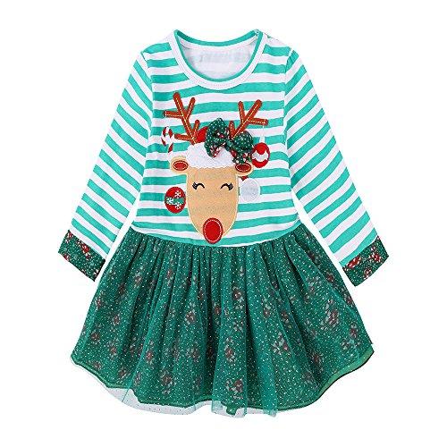 JERFER Weihnachten Gestreift Prinzessin Kleid Kleinkind Mädchen Rotwild Outfits Kleidung