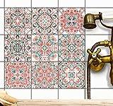 creatisto Sticker-Fliesen Dekor | Fliesen-Klebefolie - selbsklebend - Fliesenspiegel aufpeppen | Kachel-Aufkleber zum renovieren von Bad und Küche | 20x20 cm - Motiv Mexican Tiles - 9 Stück