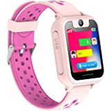 Enfants Smart Watch, LBS/GPS Tracker pour Filles et Garçons ou Cadeaux de Noël et d'anniversaire SIM appels Anti-Perte SOS pour iOS Android (Rose)