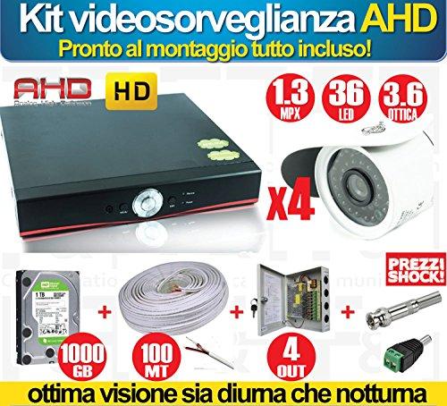 Kit-videovigilancia-AHD-HD-4-Cmaras-13-Mpx-DVR-cable-Fai-Da-Te-Smartphone