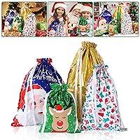 BESTOYARD Christmas Drawstring Gift Bags Goodie Bags Assorted Christmas Prints Treat Gift Bags for Christmas Party Favors Decoration Holiday Favour (Drawstring)