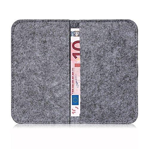Universal Smartphone Cover Handytasche Case Schutzhülle Sleeve Filztasche , Farbe:Türkis;Smartphone:Apple iPhone 8 Dunkel Grau