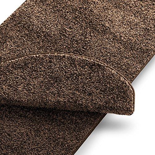 Teppich Läufer uni nougat | Qualitätsprodukt aus Deutschland | GUT Siegel | kombinierbar mit Stufenmatten | 19 Breiten und 18 Längen (80 x 400cm)
