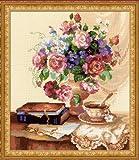 Riolis 1302 Kreuzstich-Set Etüde mit Blumen, Baumwolle, Mehrfarbig, 30 x 35 x 0.1 cm
