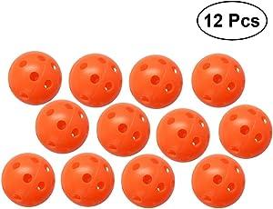TOYMYTOY Palline da allenamento perforate 12pcs Hollow Golf Practice Sports Balls (arancione)