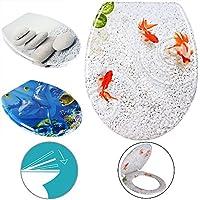 Toilettensitz aus Duroplast mit Absenkautomatik WC-Sitz Toilettendeckel Klodeckel Fische