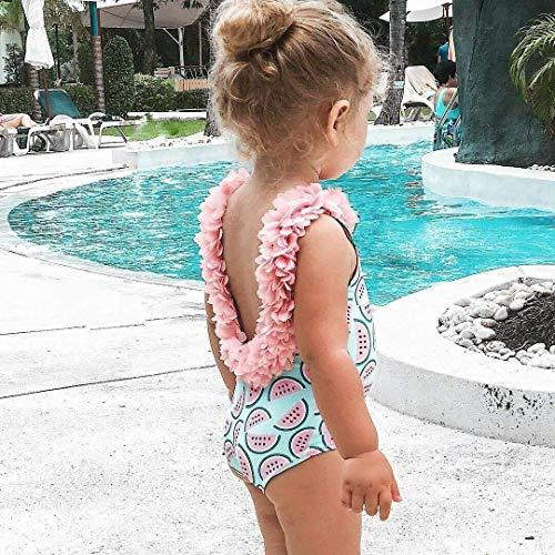 WANGSAURA Baby Mädchen Schulterfrei Overall Swimsuit Bademode U-zurück Blumen Schultergurt Rückenfrei Badeanzug, Rosa, 100 für 18~24 Monaten -