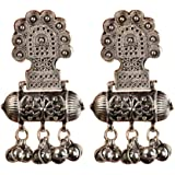 Aradhya earings for girls stylish hanging Silver Oxidised earings for Women (Silver)