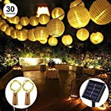 LED Solar Laterne Lichterketten, OFUN 6.5M 30 LED 2 Beleuchtung Modi Wasserdicht Laterne Solar Power Lichterketten für Outdoor, Party, Garten, Rasen, Terrasse, Home Decortaion (Warm White)