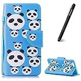 Slynmax Coque Honor 7X,Panda Motif Peint Mode PU Cuir Étui pour Huawei Honor 7X Housse de Protection Luxe Style Livre Pochette Case Folio Rabat avec de Coque pour Huawei Honor 7X + 1*Noir Stylo