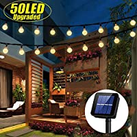 iihome 50 LED Solar String Lights Outdoor Waterproof Solar-Powered Crystal Ball Decorative Lights for Garden, Patio, Yard, Home, Chrismas Tree, Parties, Warm White, 22feet