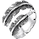 Anello unisex in stile vintage a forma di piuma, in argento 925, ottima idea regalo