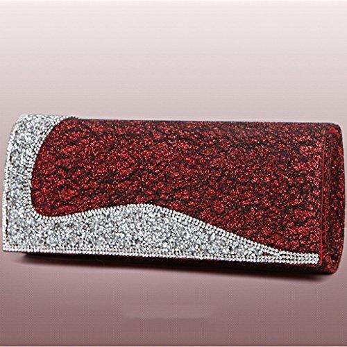 Diamante frizione borsa da donna del pacchetto afflusso di donne borse da sera borse banchetti pacchetto sera borsa coreana selvatici ( Colore : Vino rosso ) Vino rosso