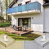 Lumaland Balkonsichtschutz 0,9 x 5 Meter inklusive Befestigungsseil 100% HDPE mit Stabilisator für UV Schutz blau weiß